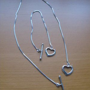Silver Heart necklace and bracelet